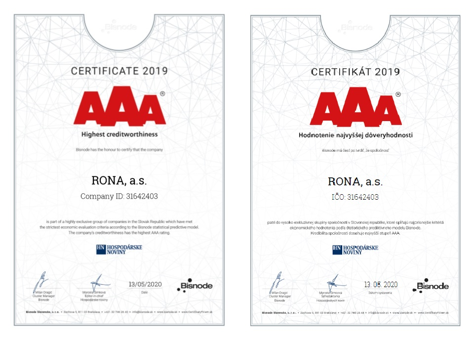 The prestigious Bisnode AAA certification for RONA